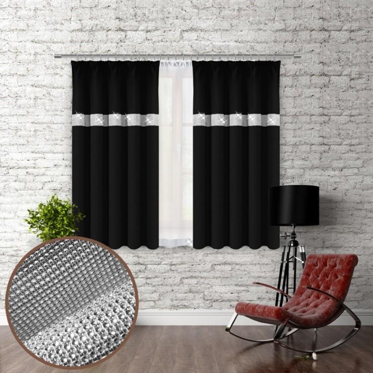 Závěs na řasící pásce se zirkóny 140x160 cm černý
