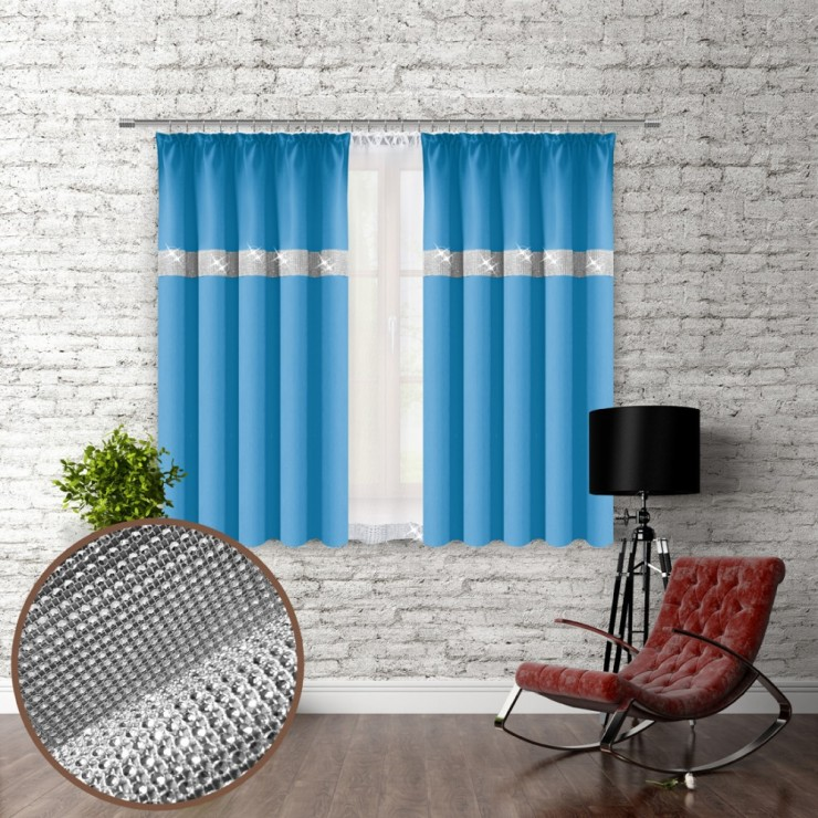 Curtain with plater tape and with zircons 140x160 cm light blue