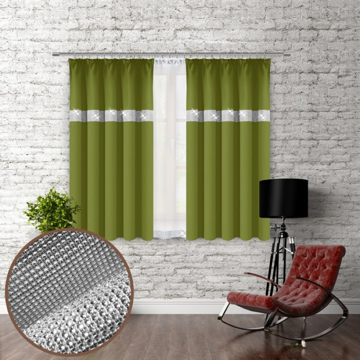 Curtain with plater tape and with zircons 140x160 cm green olive