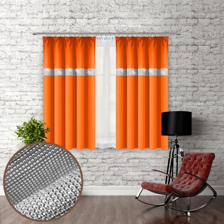 Curtain with plater tape and with zircons 140x160 cm orange