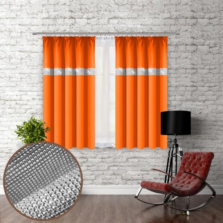 Závěs na řasící pásce se zirkóny 140x160 cm oranžový
