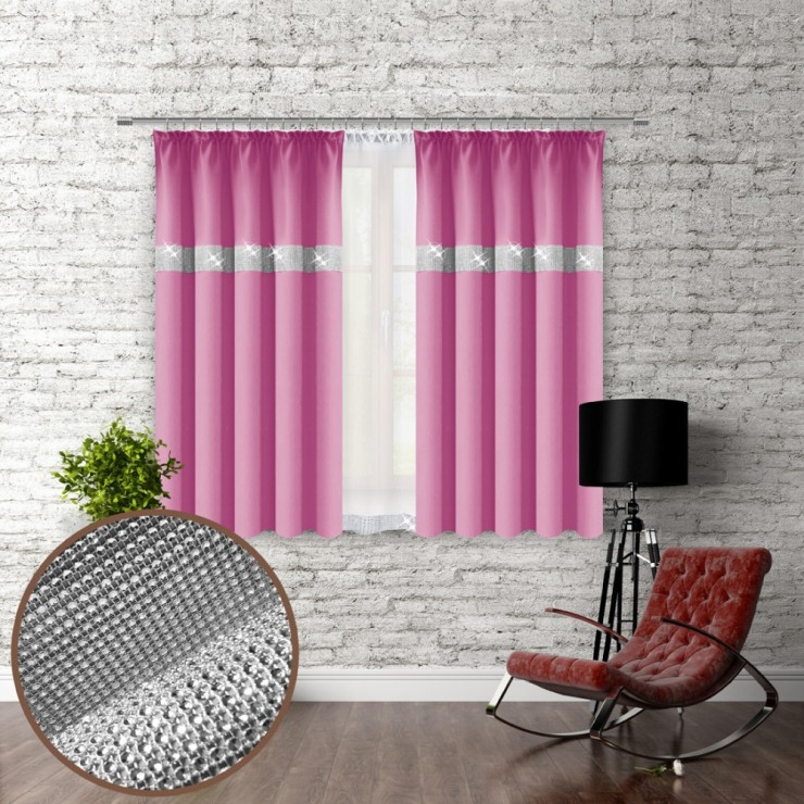 Curtain with plater tape and with zircons 140x160 cm pink