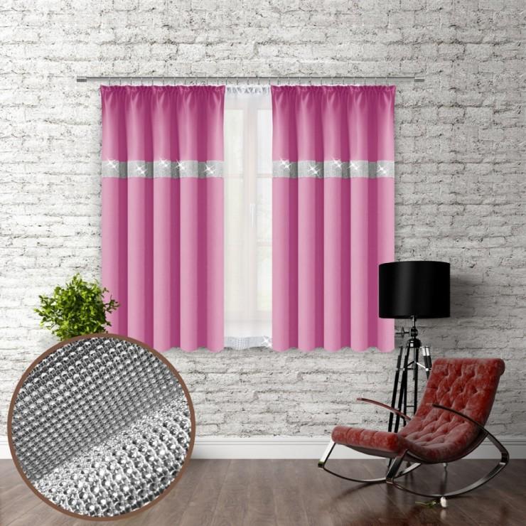 Závěs na řasící pásce se zirkóny 140x160 cm růžový