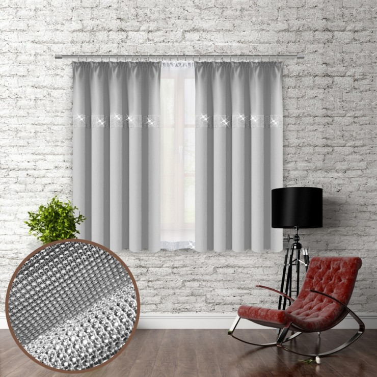 Curtain with plater tape and with zircons 140x160 cm light gray