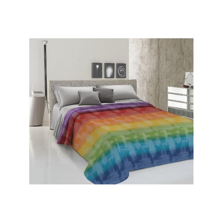 Přikrývka na postel Piquet Duha vícebarevná