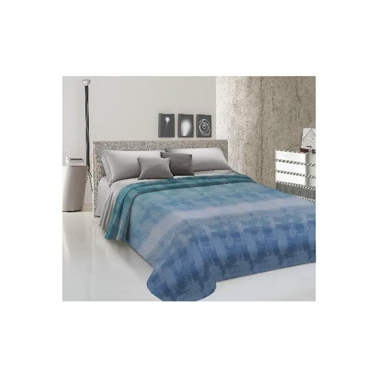 Prikrývka na posteľ Piquet Dúha modrá