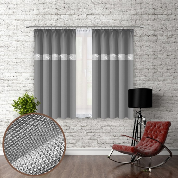 Curtain with plater tape and with zircons 140x160 cm gray