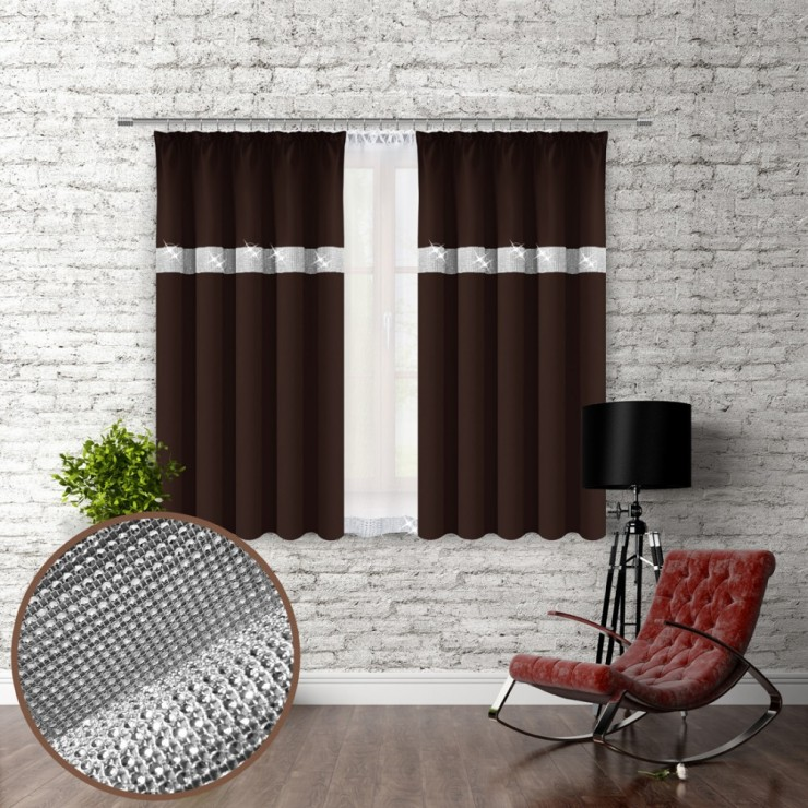 Curtain with plater tape and with zircons 140x160 cm dark brown