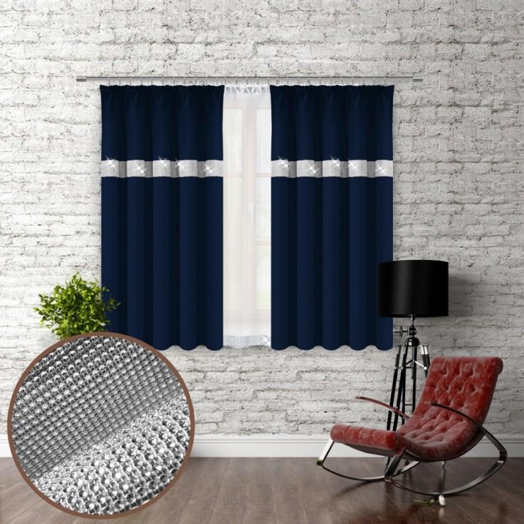 Závěs na řasící pásce se zirkóny 140x160 cm tmavě modrý