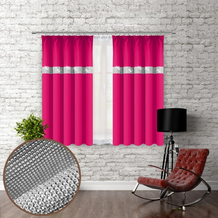 Curtain with plater tape and with zircons 140x160 cm fuxia