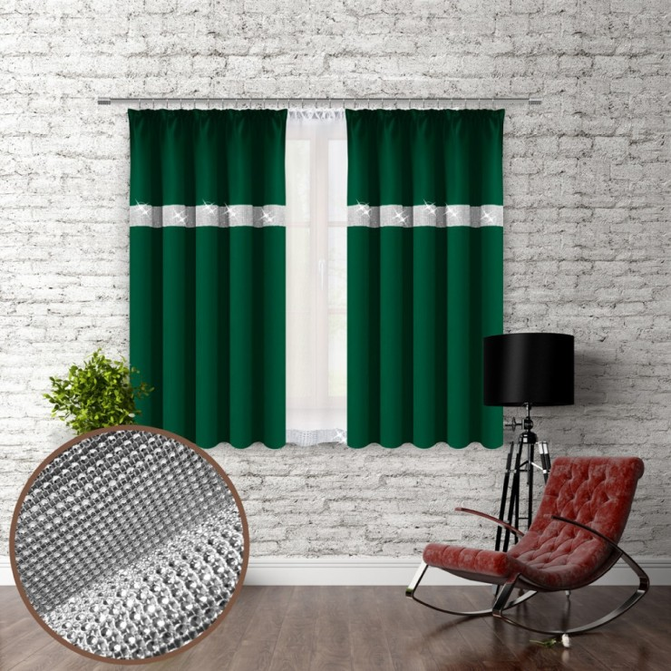 Curtain with plater tape and with zircons 140x160 cm dark green
