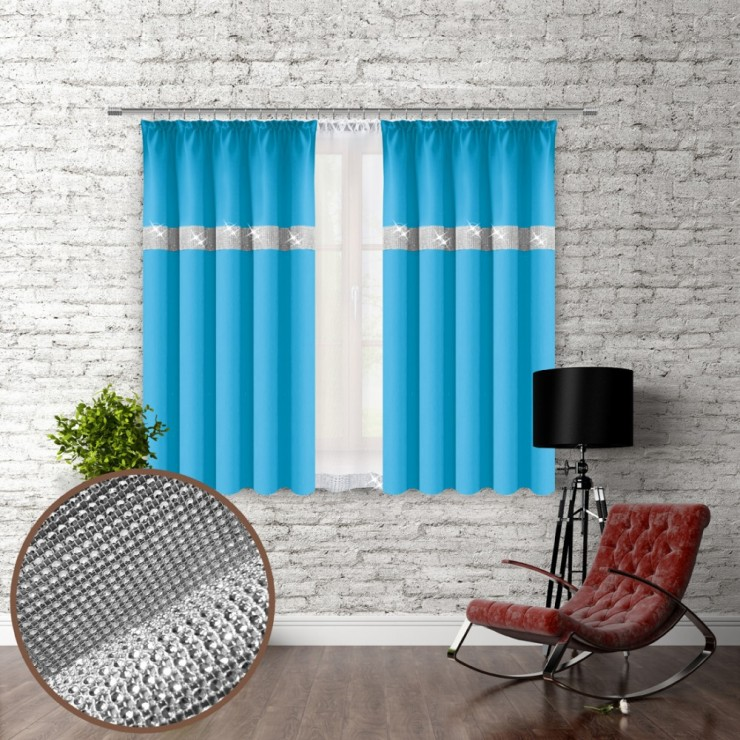 Curtain with plater tape and with zircons 140x160 cm turquoise