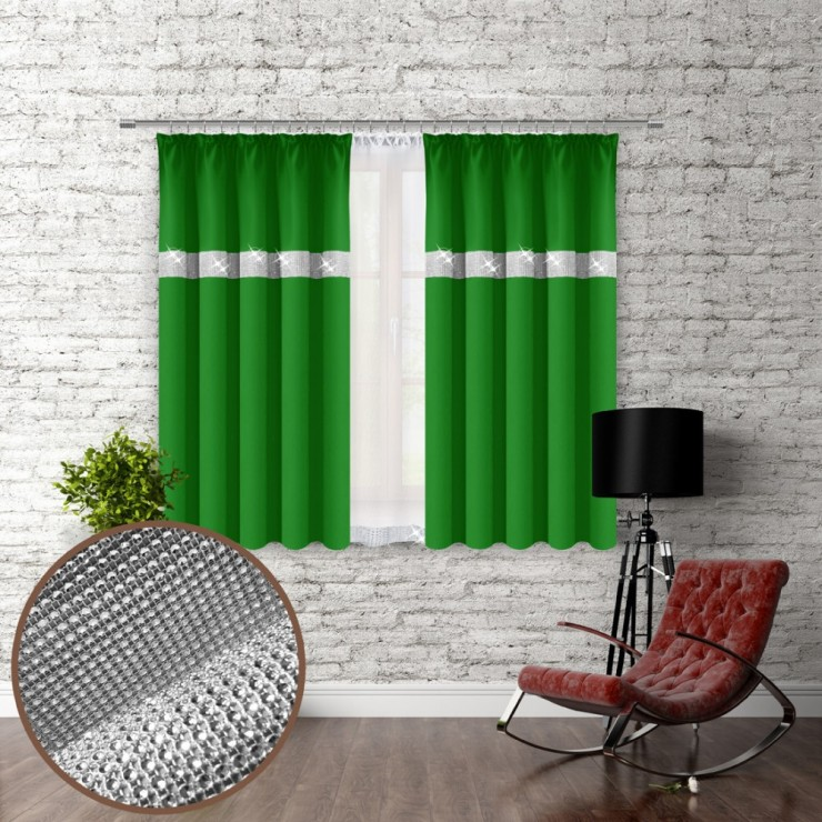 Curtain with plater tape and with zircons 140x160 cm green
