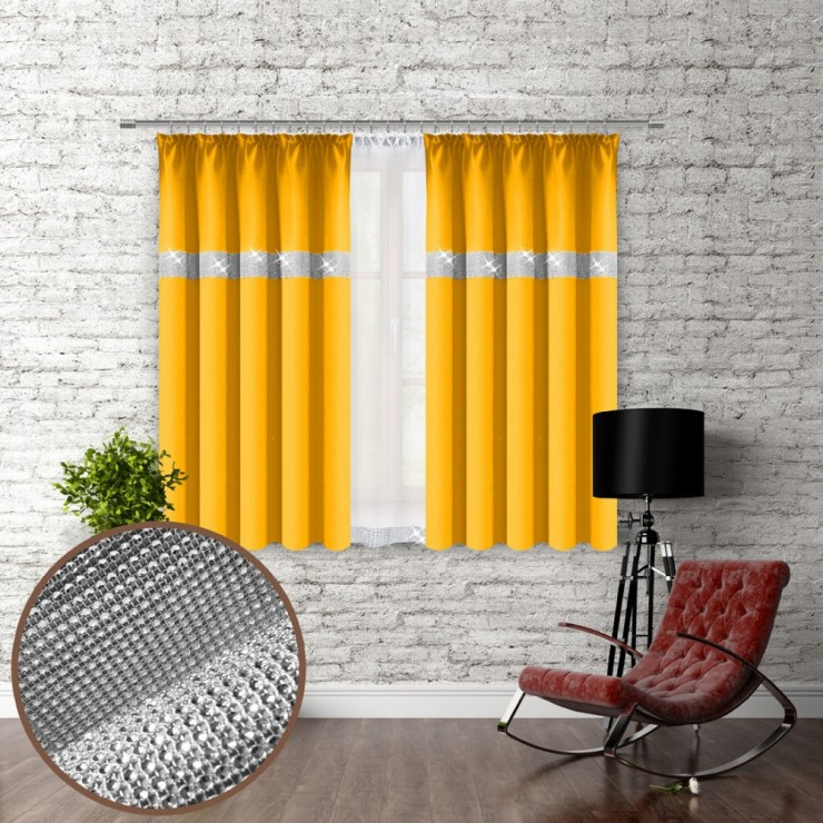 Curtain with plater tape and with zircons 140x160 cm yellow