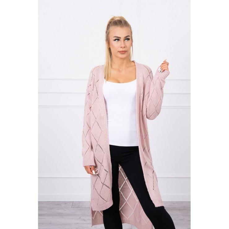 Dámsky sveter s geometrickým vzorom MI2020-4 pudrovo ružový