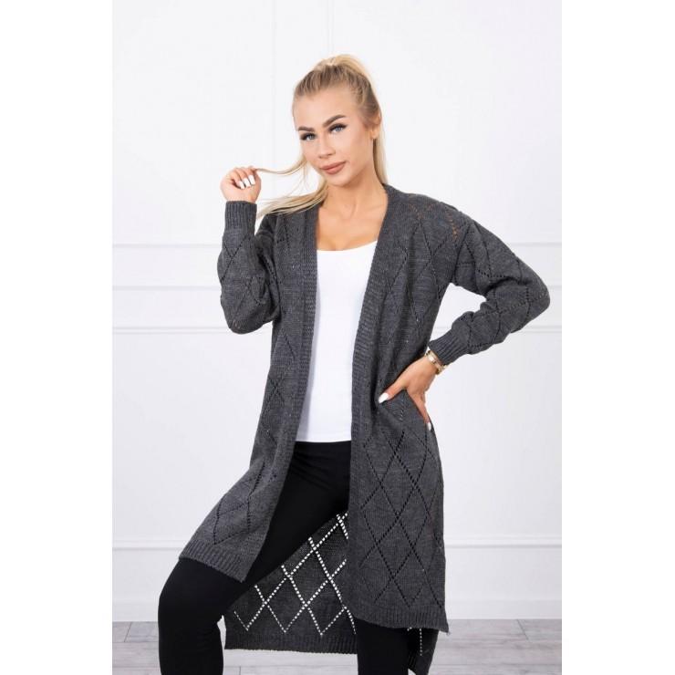 Women's sweater with geometric pattern MI2020-4 dark gray