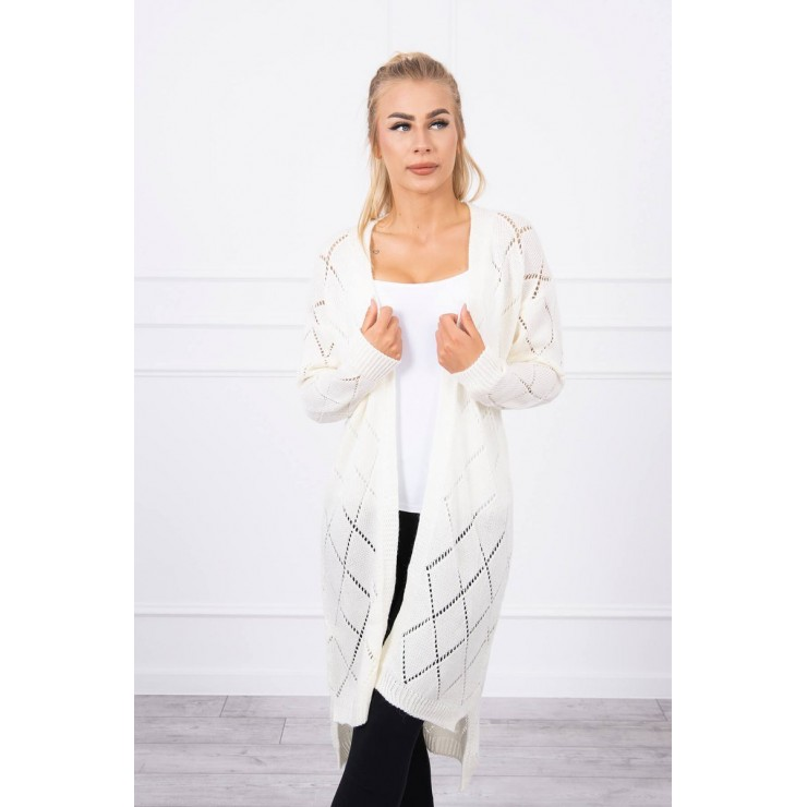 Women's sweater with geometric pattern MI2020-4 cream