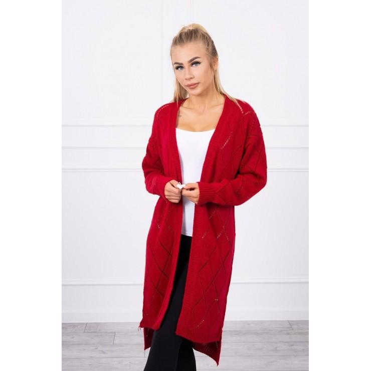 Women's sweater with geometric pattern MI2020-4 red