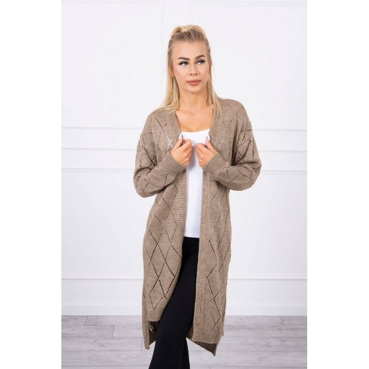 Women's sweater with geometric pattern MI2020-4 cappuccino