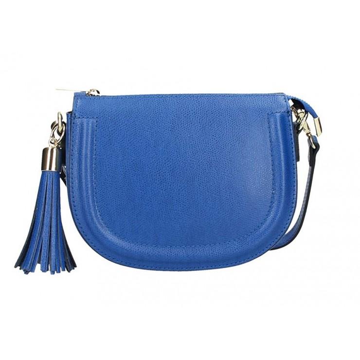 Azurovo modrá kožená kabelka na rameno 1021