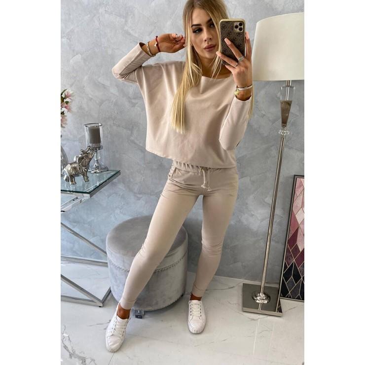 Women's set with oversize blouse MI9091 beige