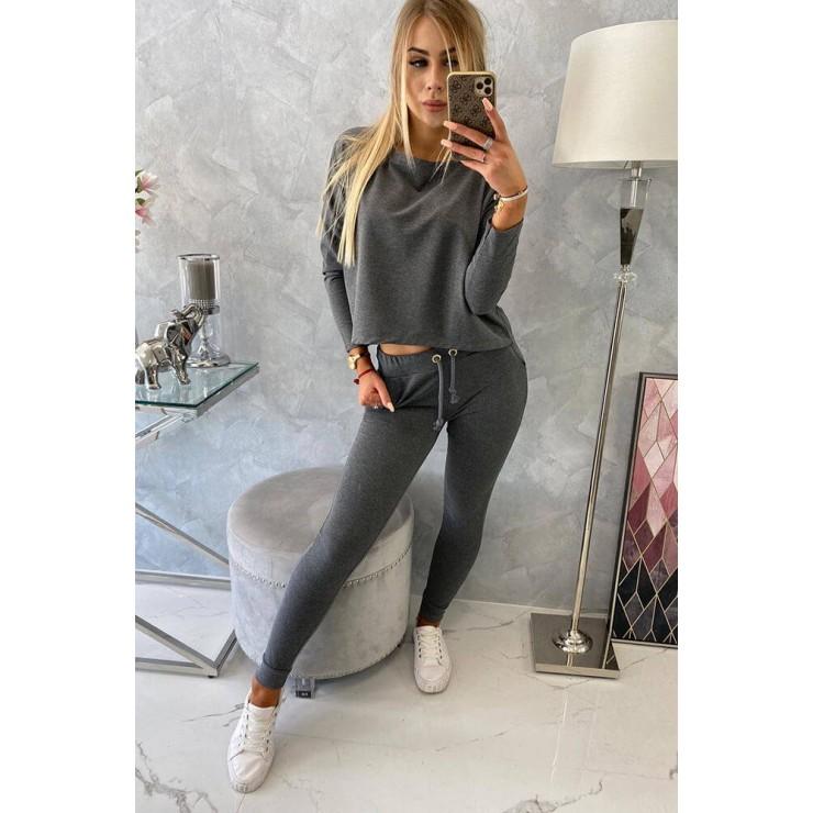 Women's set with oversize blouse MI9091 dark gray