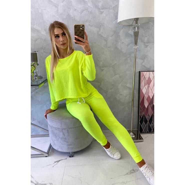 Women's set with oversize blouse MI9091 yellow neon
