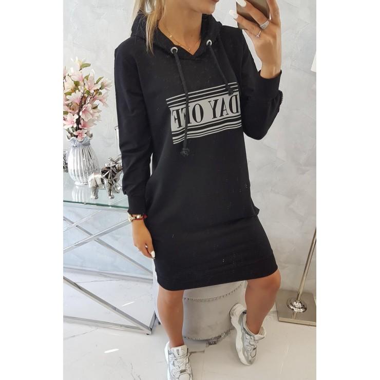 Šaty s reflexním potiskem černé