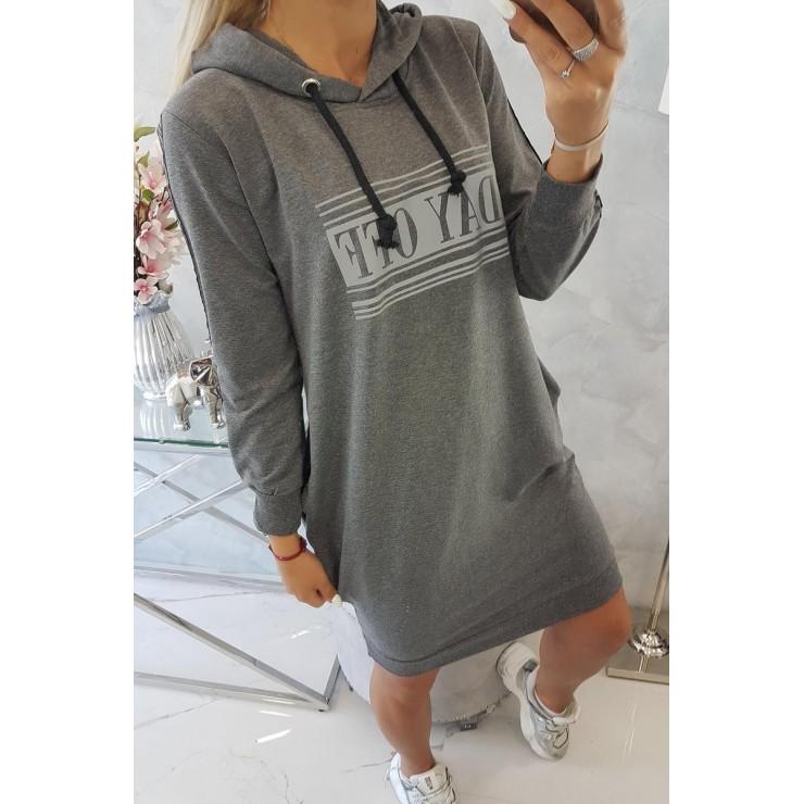 Šaty s reflexním potiskem tmavě šedé