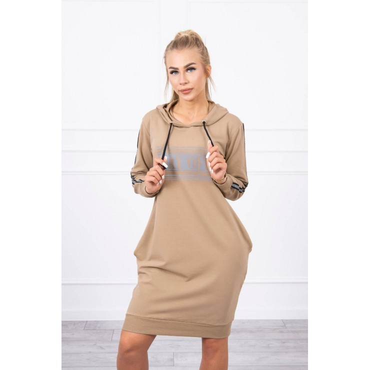 Dress with reflective print camel
