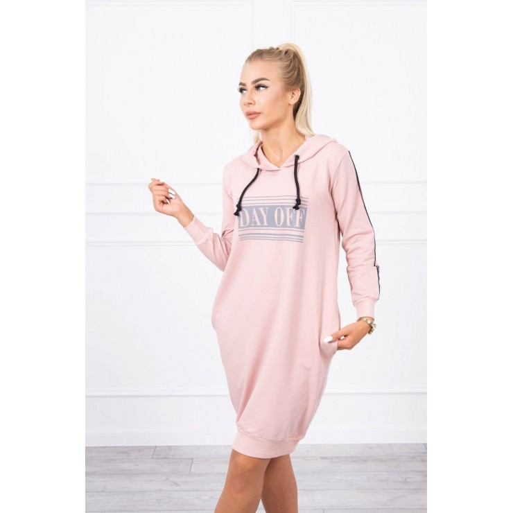 Dress with reflective print powder pink