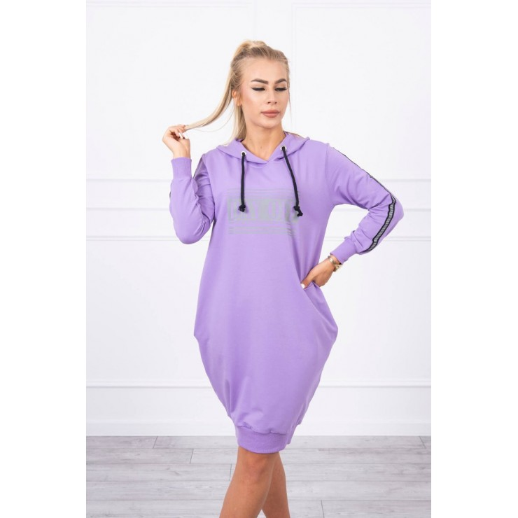 Dress with reflective print purple