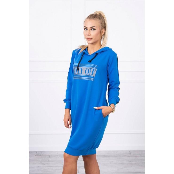 Šaty s reflexním potiskem azurově modré