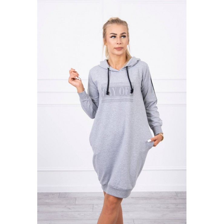 Dress with reflective print gray