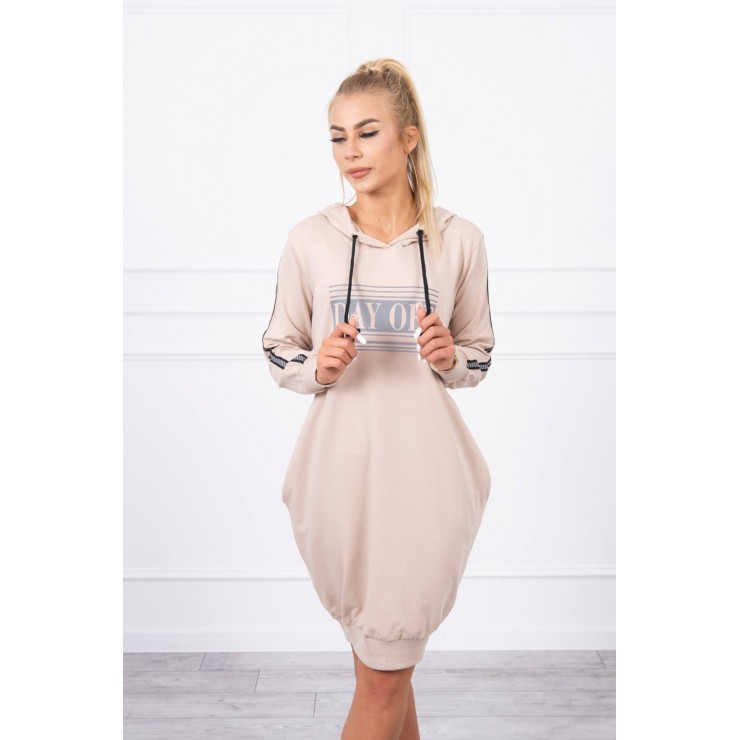 Dress with reflective print beige