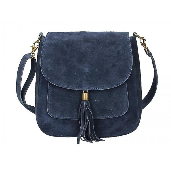 Kožená kabelka na rameno 1147 modrá