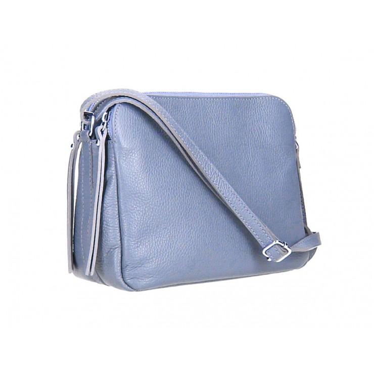 Kožená kabelka na rameno 517 blankytna modrá