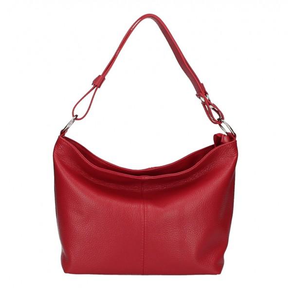 Kožená kabelka na rameno 729 tmavočervená Made in Italy Červená