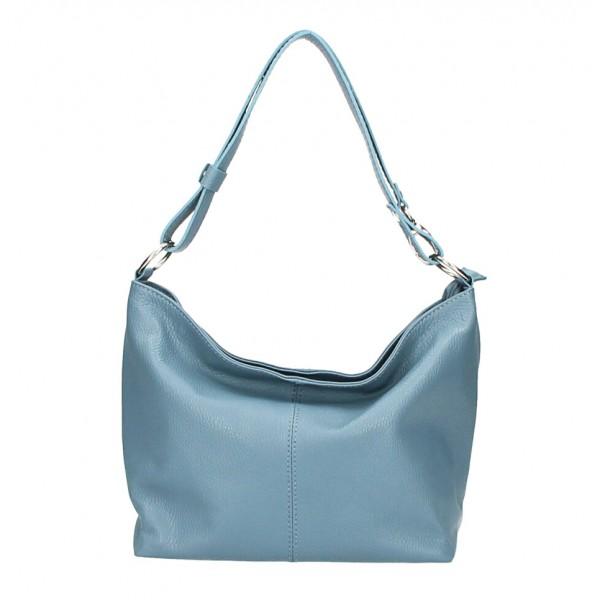 Kožená kabelka na rameno 729 blankytna modrá Made in Italy Blankytna modrá