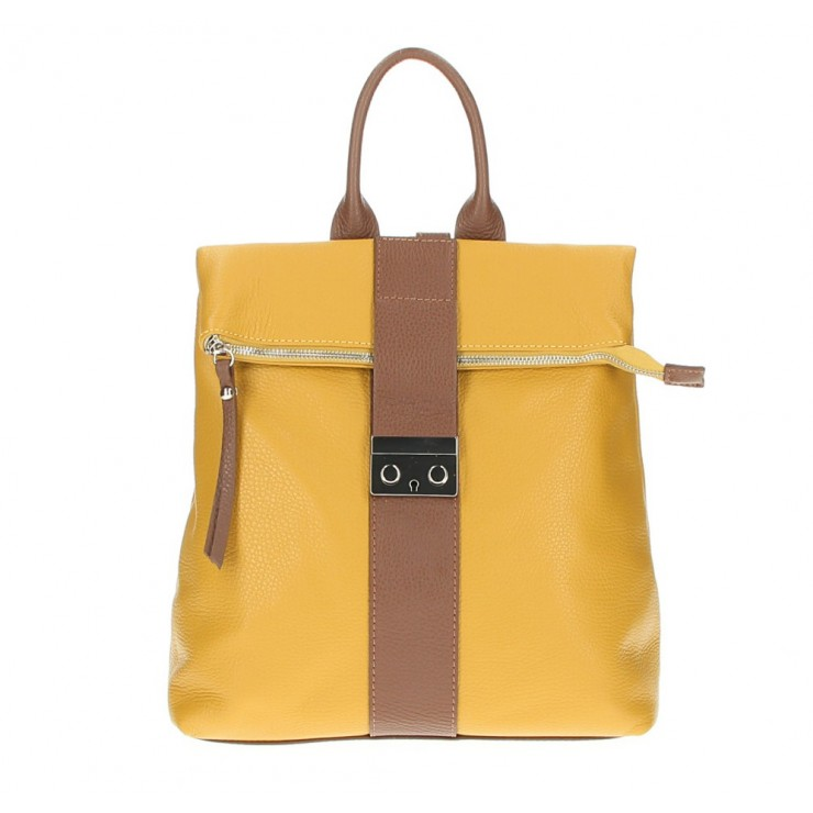 Leather backpack 576 mustard Made in Italy