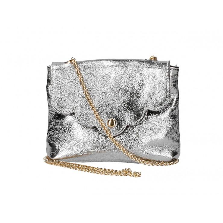 Genuine Leather Handbag MI298 silver Made in Italy