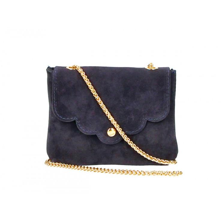 Genuine Leather Handbag MI298 blue navy Made in Italy