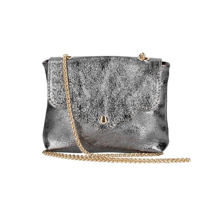 Genuine Leather Handbag MI298 metalic gray Made in Italy
