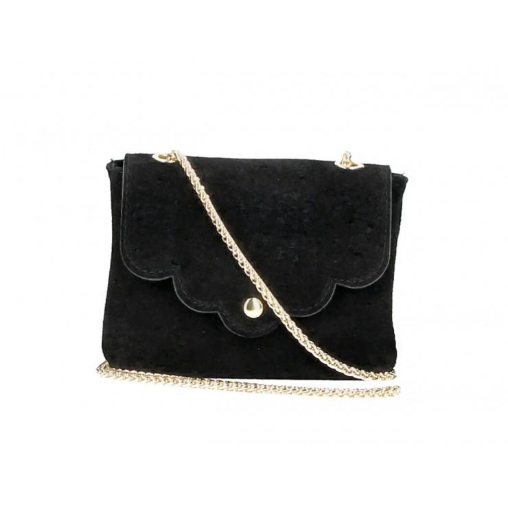 Kožená kabelka na rameno MI298 čierna Made in Italy