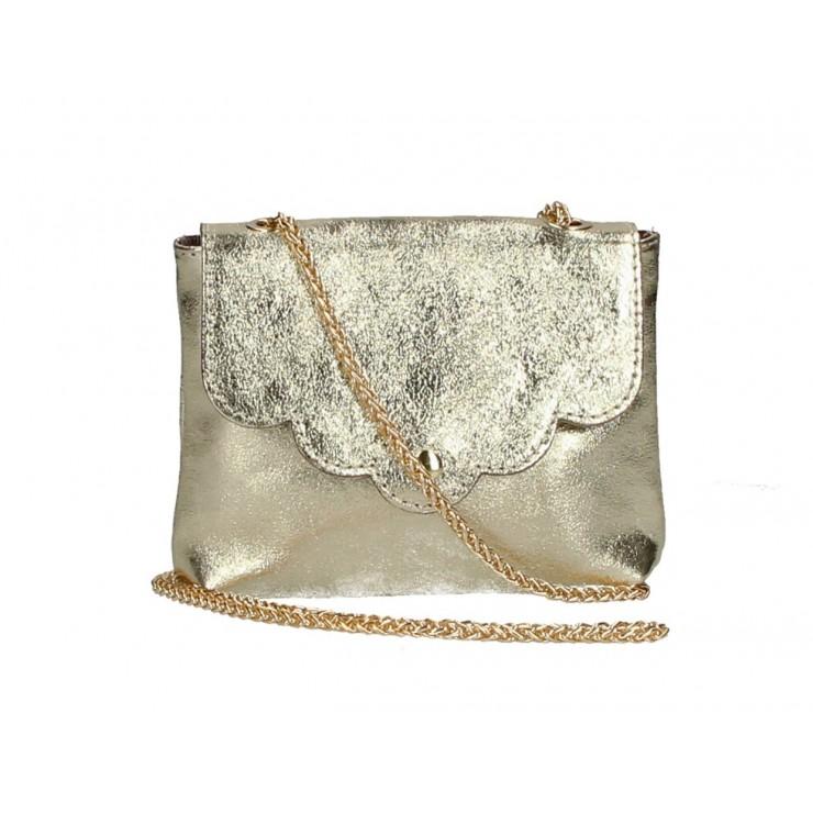 Kožená kabelka na rameno MI298 zlatá Made in Italy