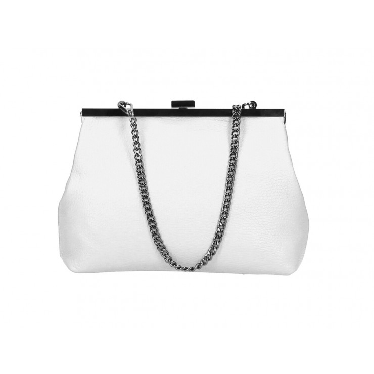 Clutch Bag with chain 295 white Made in Italy