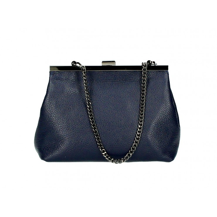 Clutch Bag with chain 295 blue navy Made in Italy