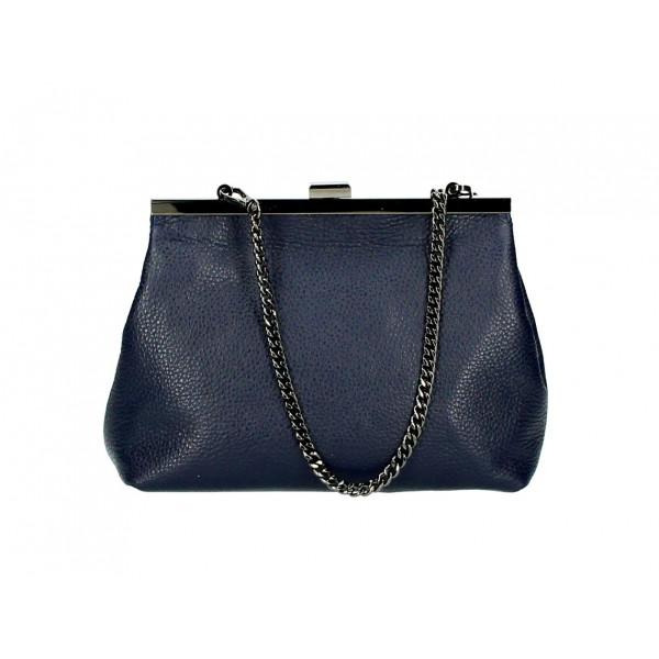 Kožená kabelka 295 tmavomodrá Made in Italy Modrá