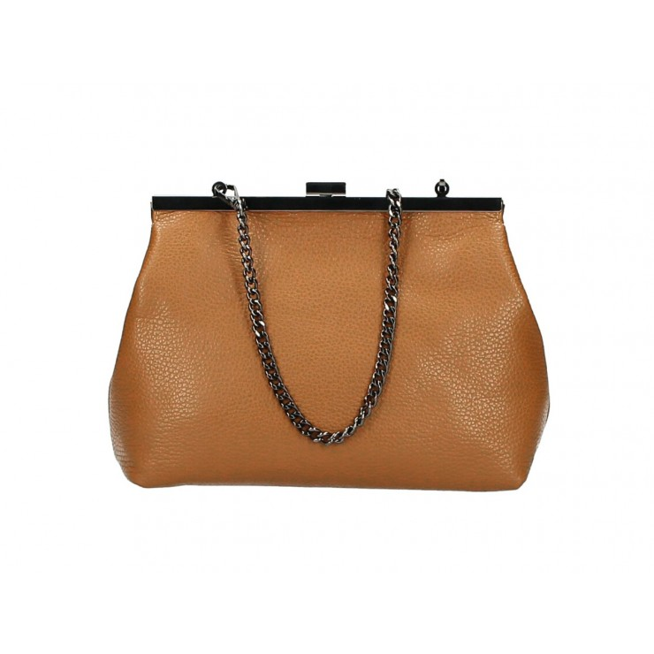 Clutch Bag with chain 295 cognac Made in Italy