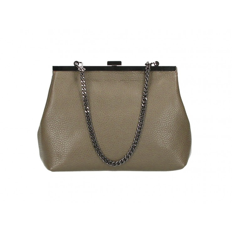 Clutch Bag with chain 295 dark taupe Made in Italy